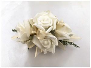 White roses, gold organza ribbon.