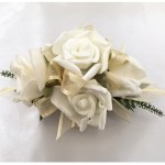 White roses, gold organza ribbon.