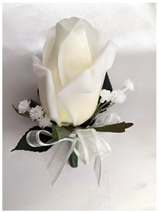 White rose buttonhole with ivory organza ribbon and baby's breath added.