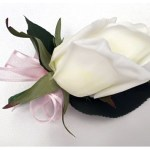 White rose button hole with pale pink organza ribbon added.