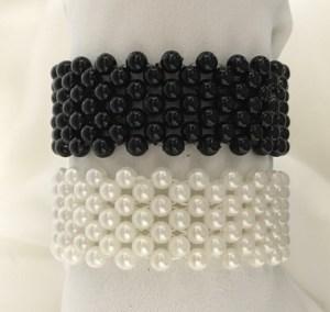 Black bead or white pearl elasticized wristbands.