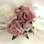 White Orchid dusty pink rose mix with pale pink organza ribbon wrist corsage.