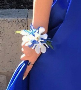 Orchid with cobalt blue ribbon, diamante` wristband.
