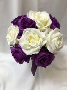 Purple and white open rose posy.