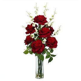 Nearly Natural 1203 Roses with Cherry Blossoms Silk Flower Arrangement, Red