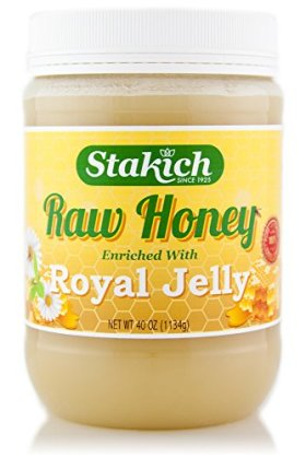 Stakich ROYAL JELLY Enriched RAW HONEY 40-OZ – 100% Pure, Unprocessed, Unheated –