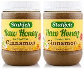 Stakich CINNAMON Enriched RAW HONEY 5-LB – 100% Pure, Unprocessed, Unheated –