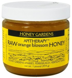 Apitherapy Raw Honey-Orange Blossom Honey Gardens 1 lbs Glass Jar