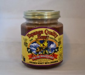 Topanga Quality Honey Creamed Honey w/ Cinnamon – Raw, Unfiltered, Unpasturized, Best Quality, All Natural, Kosher – 12oz