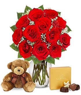 Flowers – One Dozen Red Roses with Godiva Chocolates & Bear