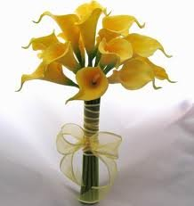 Classic Yellow Mini Calla Lily Bridesmaid Bouquet