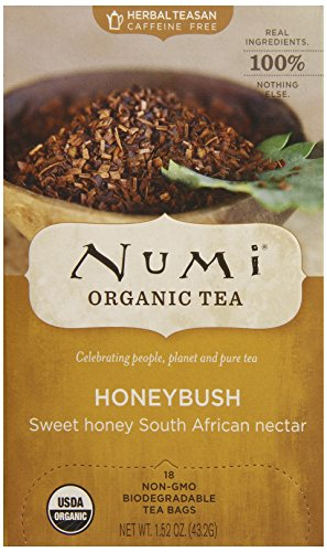 Numi Organic Tea Honeybush, Herbal Teasan in Teabags, 18-Count Box (Pack of 6)