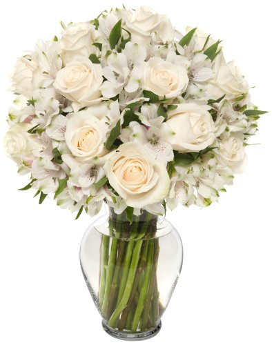 Elegance Long Stem Rose Alstro Bouquet – With Vase