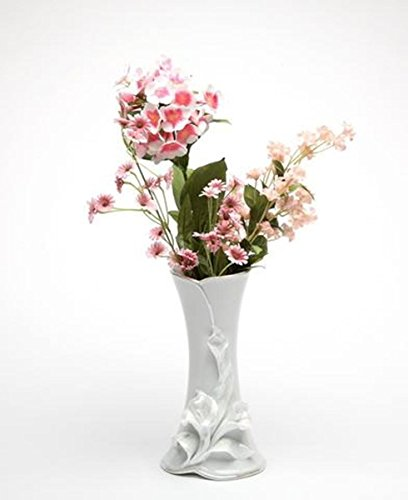 8 Inch Decorative Calla Lily Flower Design White Porcelain Vase