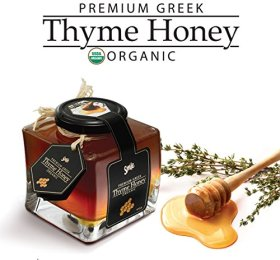 Premium Organic Thyme Honey Smile – 100% Greek Raw Certified Organic – In Luxury Glass Jar of (14.5 Oz) – Comes with Free (Wooden Honey Dipper)