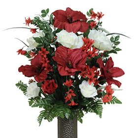 Red and White Amaryllis Silk Flower Bouquet with Stay-In-The-Vase® Design Flower Holder(LG1266)