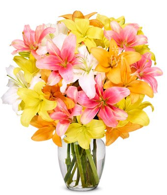 Flowers – Stunning Lily Bouquet – Premium (FREE Vase Included)