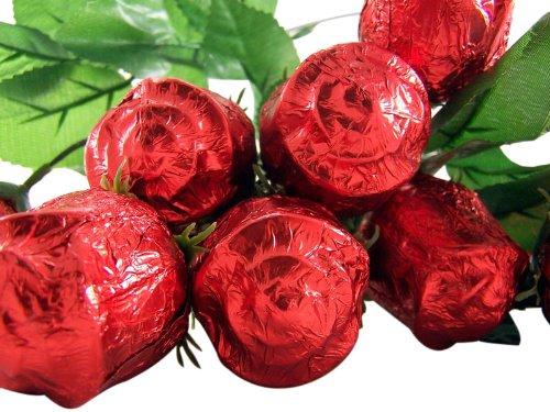 One Dozen (12) Long Stem Milk Chocolate Rose Candy Bouquet