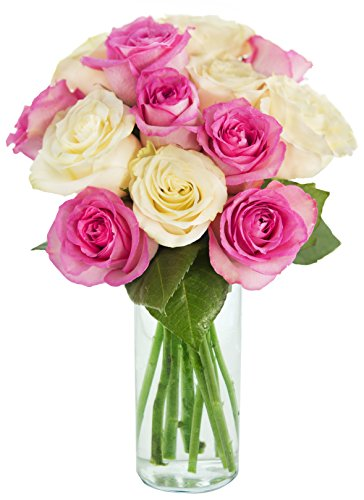 Bouquet of Long Stemmed Pink and White Roses (Dozen) – With Vase