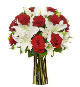 Long Stem Rose / Oriental Lily Bunch – Without Vase