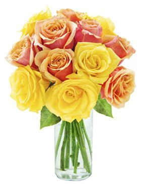 Bouquet of Long Stemmed Orange and Yellow Roses (Dozen) – With Vase