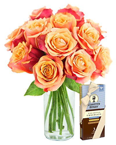 Bouquet of Long Stemmed Orange Roses (Dozen) and Scharffen Berger Chocolate – With Vase