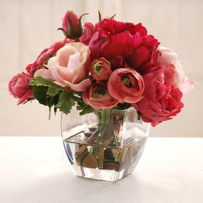 Rose and Peony in Glass Vase