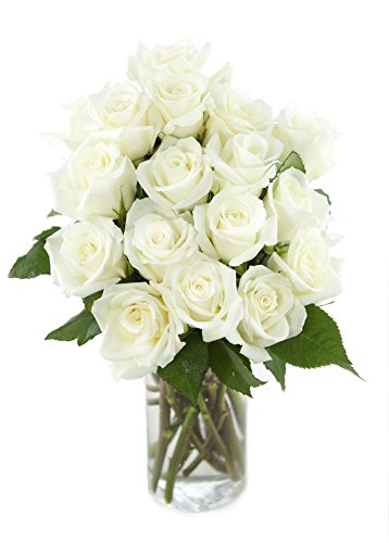 Bouquet of Long Stemmed White Roses (Dozen and a Half) – With Vase