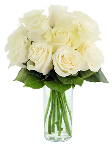 Bouquet of Long Stemmed White Roses (Dozen) – With Vase