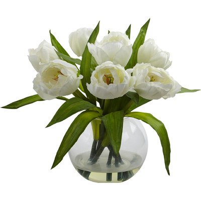 Nearly Natural Tulips Arrangement with Vase