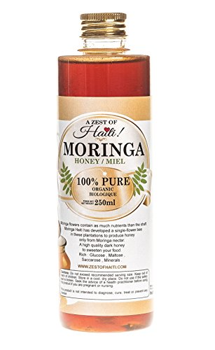 Moringa Pure Raw Mono-floral Dark Honey – 100% Organic- Retains Calcium in Body, Prevents Heart Disease – Made Only From the Miracle Moringa Flower – Very Rare, Great in Moringa Tea – 8 Ounces
