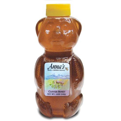 Clover Honey Bear Bottle, 12 oz – Grade A, Natural, Raw Honey – by Anna's Honey (Pack of 4)
