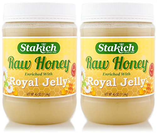 Stakich ROYAL JELLY Enriched RAW HONEY 5-LB – 100% Pure, Unprocessed, Unheated –