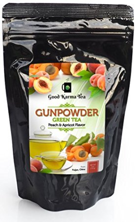 Peach Apricot Green Tea Organic Gunpowder,High Caffeine Pre-Workout, Rich Fruit & Smoky Flavor, 4 Oz, 60 Cups, Loose Leaf, Temple of Heaven, Bulk, Weight Loss, Detox, Slimming, Gourmet, Whole Leaves, Fujian China, Stress Relief, Special Pinhead Pearls, Exotic