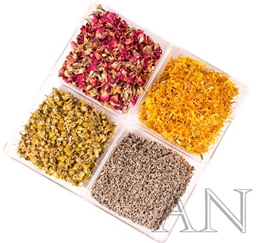 Aisev Naturals® – Botanical Herb Variety Pack – Rose Buds & Petals, Lavender, Chamomile, Calendula