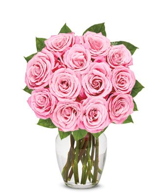 From You Flowers – One Dozen Light Pink Roses (Free Vase Included)