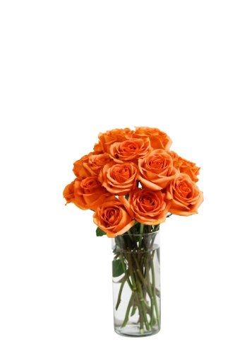 Bouquet of Long Stemmed Orange Roses (Dozen and a Half) – With Vase