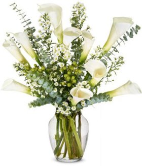From You Flowers – Sympathy Calla Lilies – Deluxe (Free Vase Included)