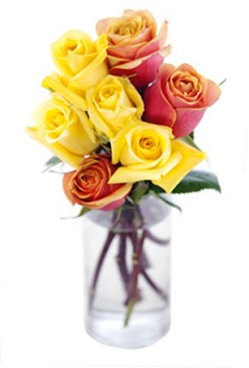 Bouquet of Long Stemmed Orange and Yellow Roses (Half Dozen) – With Vase