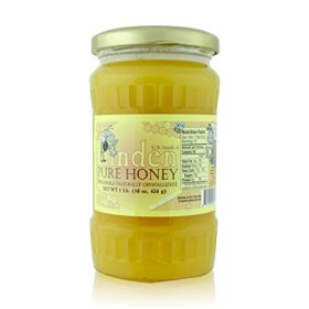 Honey Bee Raw Linden Honey (Pure Unprocessed & Unfiltered Naturally Crystallized) (16 oz)