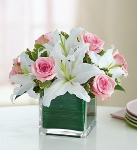 1-800-Flowers – Rose and Lily Cube Bouquet – Small
