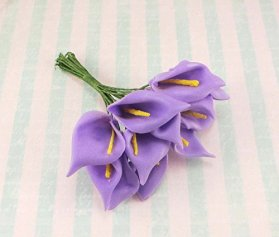 EVA 5*24pcs 3cm Head Calla Lily Flower Bouquet (Purple)