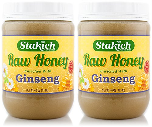 Stakich GINSENG Enriched RAW HONEY 5-LB – 100% Pure, Unprocessed, Unheated –