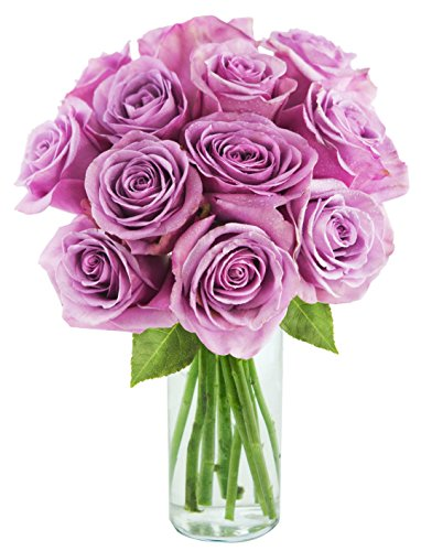 Bouquet of Long Stemmed Lavender Roses (Dozen) – With Vase
