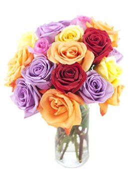 Bouquet of Long Stemmed Rainbow Roses (Dozen and a Half) – With Vase