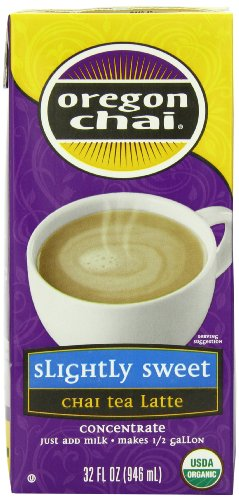 Oregon Chai Slightly Sweet Chai Tea Latte Concentrate, 32-Ounce Boxes (Pack of 6)