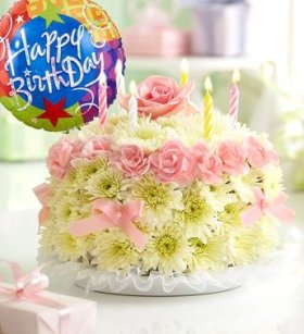 1-800-Flowers – Birthday Flower Cake Pastel – with Happy Birthday Balloon