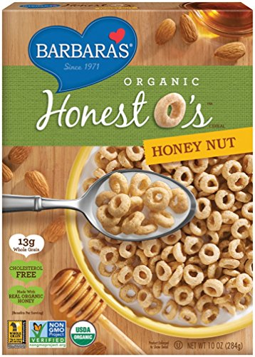 Barbara's Bakery Organic Honest O's Cereal, Honey Nut, 10 Ounce