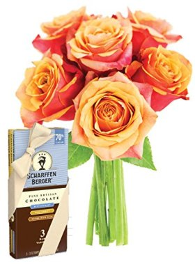 Bouquet of Long Stemmed Orange Roses (Half Dozen) and Scharffen Berger Chocolate – Without Vase
