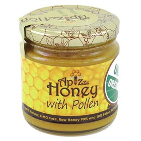 Apizzz Honey 100% Natural, Grade A, GMO Free, USDA Organic Raw Honey with Bee Pollen 250g (8.82oz)